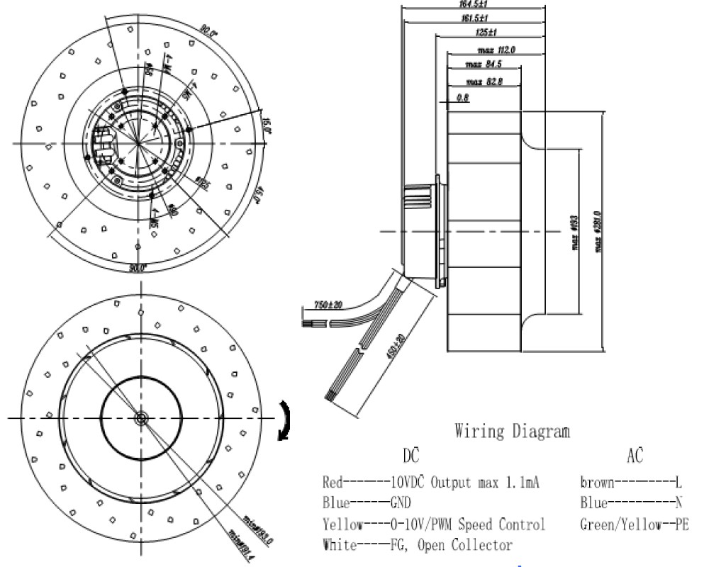 Ec Fans Dc External Rotor Motor Centrifugal Fan Axial Duct Speed Control Wiring Diagram Circular Ofan Electric Coltd